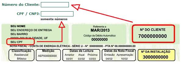 Cemig - CPF e número do cliente